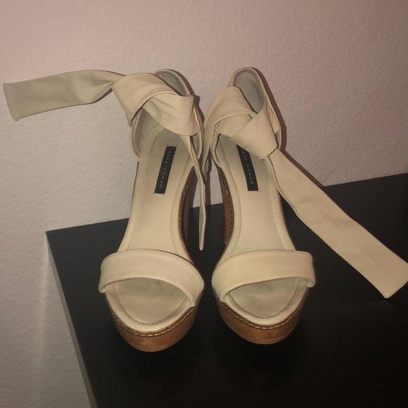 Zara cream beige tie platform shoes sz 38